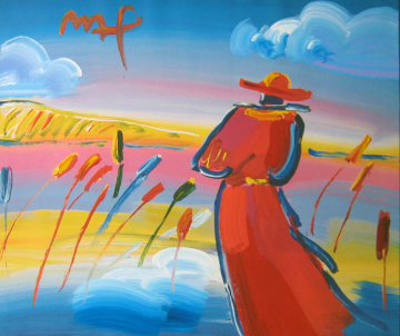 Walking in Reeds 1999 17x24 Works on Paper (not prints) - Peter Max