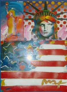 God Bless America II Unique 24x18 Works on Paper (not prints) - Peter Max