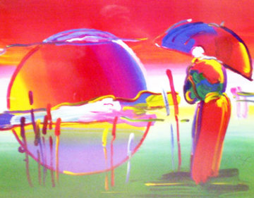 Rainbow Umbrella Man in Reeds 2007 Limited Edition Print - Peter Max