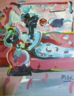 Reclining Woman on Couch 1991 44x38 Original Painting - Peter Max