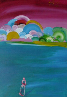 Figure and Better World 1992 50x38 Original Painting - Peter Max