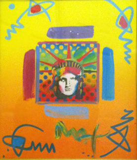 Liberty Head II Collage 1997 14x12 Works on Paper (not prints) - Peter Max