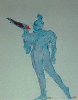 Circus Performer with Bird (early work 1972) Limited Edition Print - Peter Max