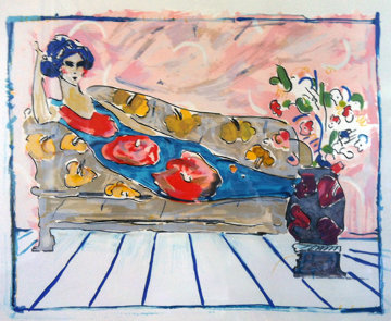 Lady on Couch - Blue (early work 1973) Limited Edition Print - Peter Max