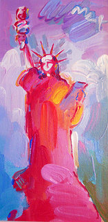 Statue of Liberty Ver II #20 2008 18x12 Original Painting - Peter Max