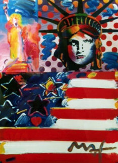 God Bless America Unique 24x18 Works on Paper (not prints) - Peter Max
