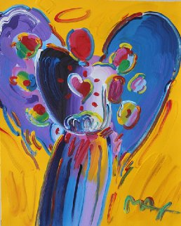 Angel With Heart: Version I #2  28x24 Works on Paper (not prints) - Peter Max