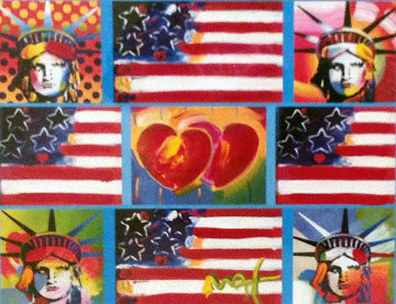 4 Liberties, 4 Flags, And 2 Hearts 2006 Unique 29x32 Works on Paper (not prints) - Peter Max