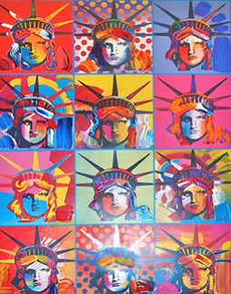 Liberty And Justice For All (a Unique Variation) 2001 Unique Works on Paper (not prints) - Peter Max