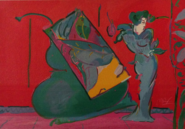 Lady on Red With Floating Vase 1988