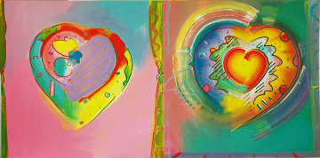 Hearts II AP 1992 Limited Edition Print - Peter Max