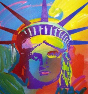 Liberty Version VII No. 14 Unique 1993 Unique 12x11 Works on Paper (not prints) - Peter Max