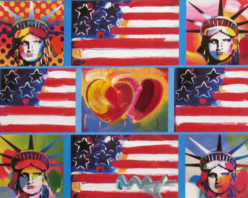 Patriotic Series: 4 Liberties, 4 Flags, And 2 Hearts 2006 Unique Limited Edition Print - Peter Max