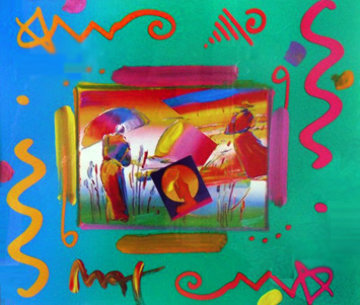 Rainbow Umbrella Man Collage 1998 Works on Paper (not prints) - Peter Max