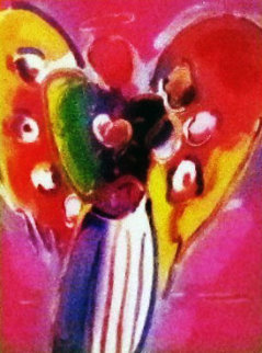 Angel With Heart on Blends 2007 Unique #740 26x22 Works on Paper (not prints) by Peter Max