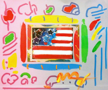 American Flag With Heart Unique 2001 22x24 Works on Paper (not prints) - Peter Max