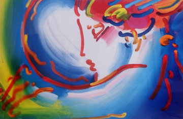I Love the World Unique 2004 18x23 Original Painting - Peter Max