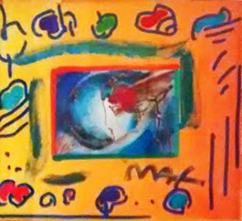 I Love the World Collage 1999 12x14 Unique Works on Paper (not prints) - Peter Max