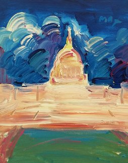 Monument 1991 20x16 Original Painting - Peter Max