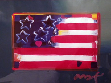 Flag With Heart 1999 31x38 Unique Works on Paper (not prints) - Peter Max