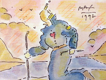 Sage By the Lake Watercolor 1992 22x24 Watercolor - Peter Max