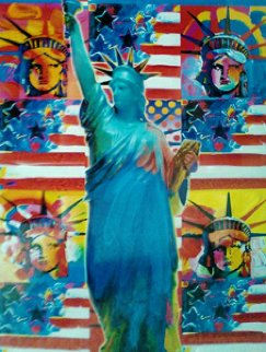 God Bless America, Ver. 1 2010 32x28 Original Painting - Peter Max
