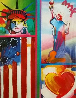 Patriotic Series: Two Liberties, Flag And Heart 2006 Unique 18x14 Works on Paper (not prints) - Peter Max