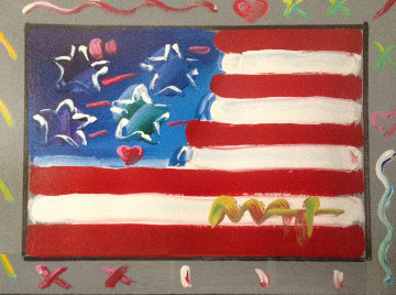 Flag With Heart Version #86 2004 22x25 Works on Paper (not prints) - Peter Max