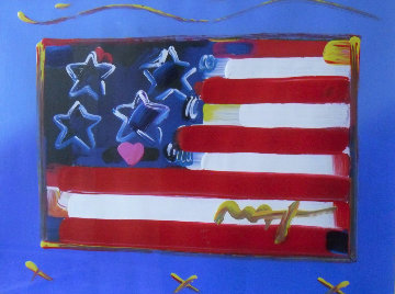 Flag With Heart Unique 1999 31x37 Works on Paper (not prints) - Peter Max