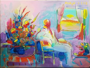 Living Room 1992 14x18 Original Painting - Peter Max
