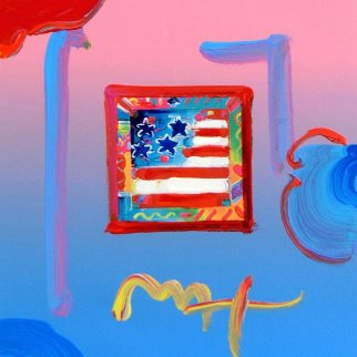 Flag With Heart 2004 19x21 Works on Paper (not prints) - Peter Max