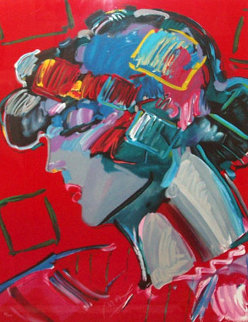 Crimson Lady 1987 Limited Edition Print - Peter Max