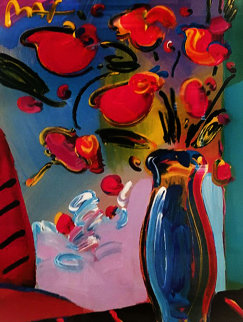 Vase of Flowers 2000 29x34 Works on Paper (not prints) - Peter Max
