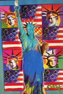 God Bless America III With Five Liberties Unique 2005 31x37 Works on Paper (not prints) - Peter Max