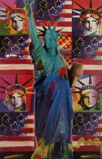 God Bless America III  Unique 2005 24x18 Works on Paper (not prints) - Peter Max