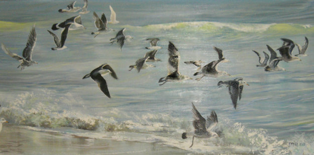 Untitled Seascape with Birds 1980 27x46