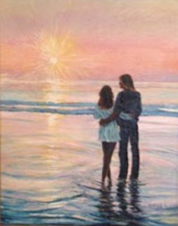 Love on The Beach 1978 23x27 Original Painting - Ruth Mayer