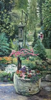 Garden Pump 1997 18x26 Original Painting - Ruth Mayer