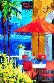 Cafe Menton Embellished Limited Edition Print - Barbara McCann