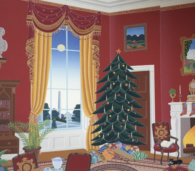 White House Red Room At Christmas 1985