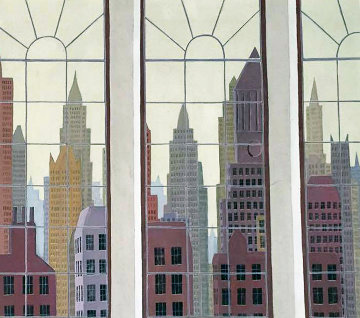 View of New York 1979 40x34 Original Painting - Thomas Frederick McKnight