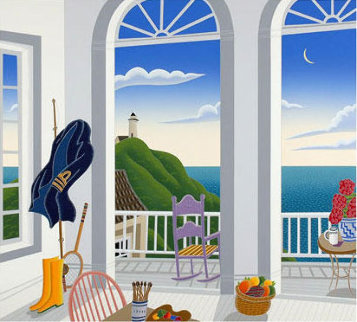 Nantucket Porch with Captain's Jacket Limited Edition Print - Thomas Frederick McKnight