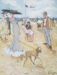 Madame Promene Son Chien 64x51 Original Painting - Marc Clauzade
