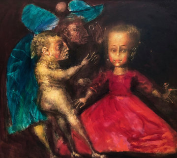 Walk # 9 (Dolls) 1994 42x38 Original Painting - Andrei Medvedev