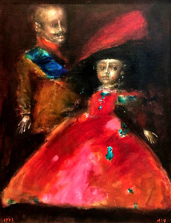 Double Portrait 1995 42x33 Original Painting - Andrei Medvedev