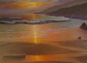 Golden Hue At Low Tide 1984 69x45 Original Painting - Maurice Meyer
