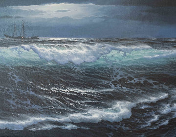 Lost At Sea 29x53 Original Painting - Maurice Meyer