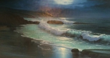 Untitled Seascape 1970 56x32 Original Painting - Maurice Meyer