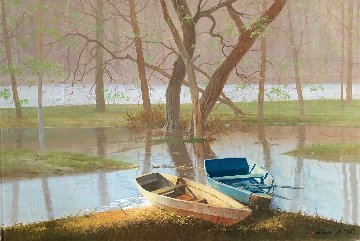 On the River Original 2011 24x36 Original Painting - Michael Gorban