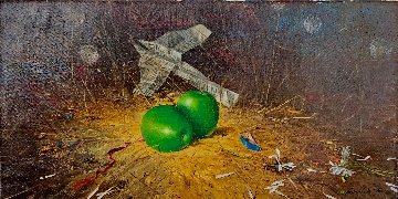Green Apples 2005 16x31 Original Painting - Michael Gorban